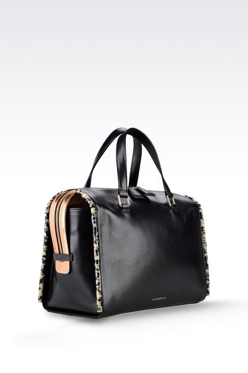 calfskin tote with animal trim: Bauletto bags Women by Armani - 3