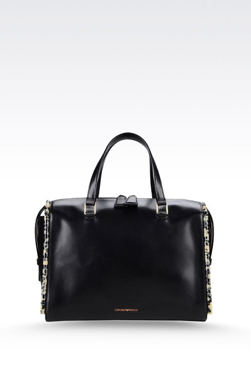 calfskin tote with animal trim: Bauletto bags Women by Armani - 1