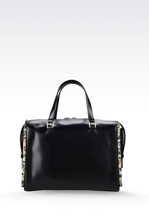 calfskin tote with animal trim: Bauletto bags Women by Armani - 2