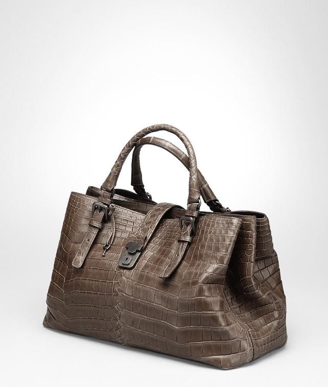 BOTTEGA VENETA Shadow Soft Crocodile Fume Roma Bag Top Handle Bag D fp