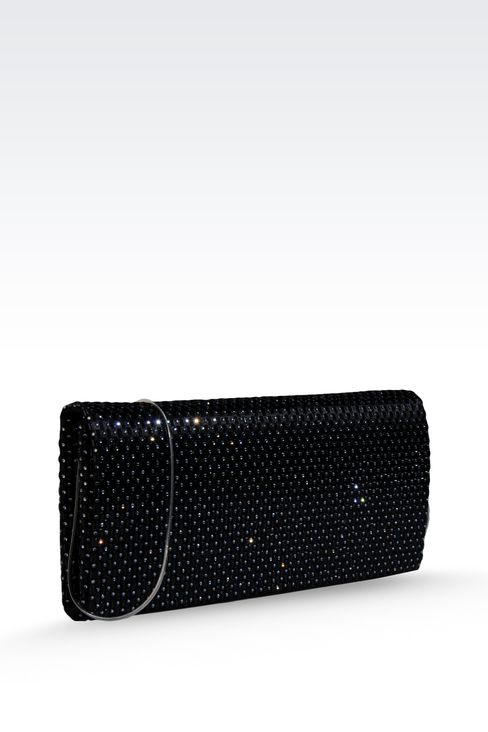 SATIN CLUTCH WITH RHINESTONES AND SHOULDER STRAP: Clutch bags Women by Armani - 3