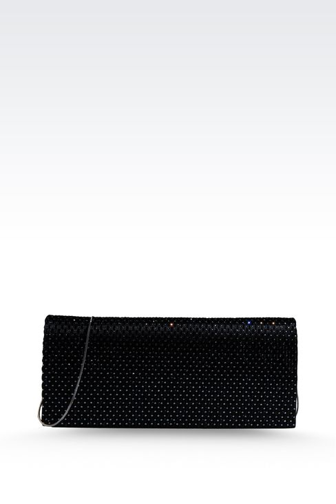 SATIN CLUTCH WITH RHINESTONES AND SHOULDER STRAP: Clutch bags Women by Armani - 1