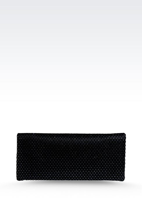 SATIN CLUTCH WITH RHINESTONES AND SHOULDER STRAP: Clutch bags Women by Armani - 2