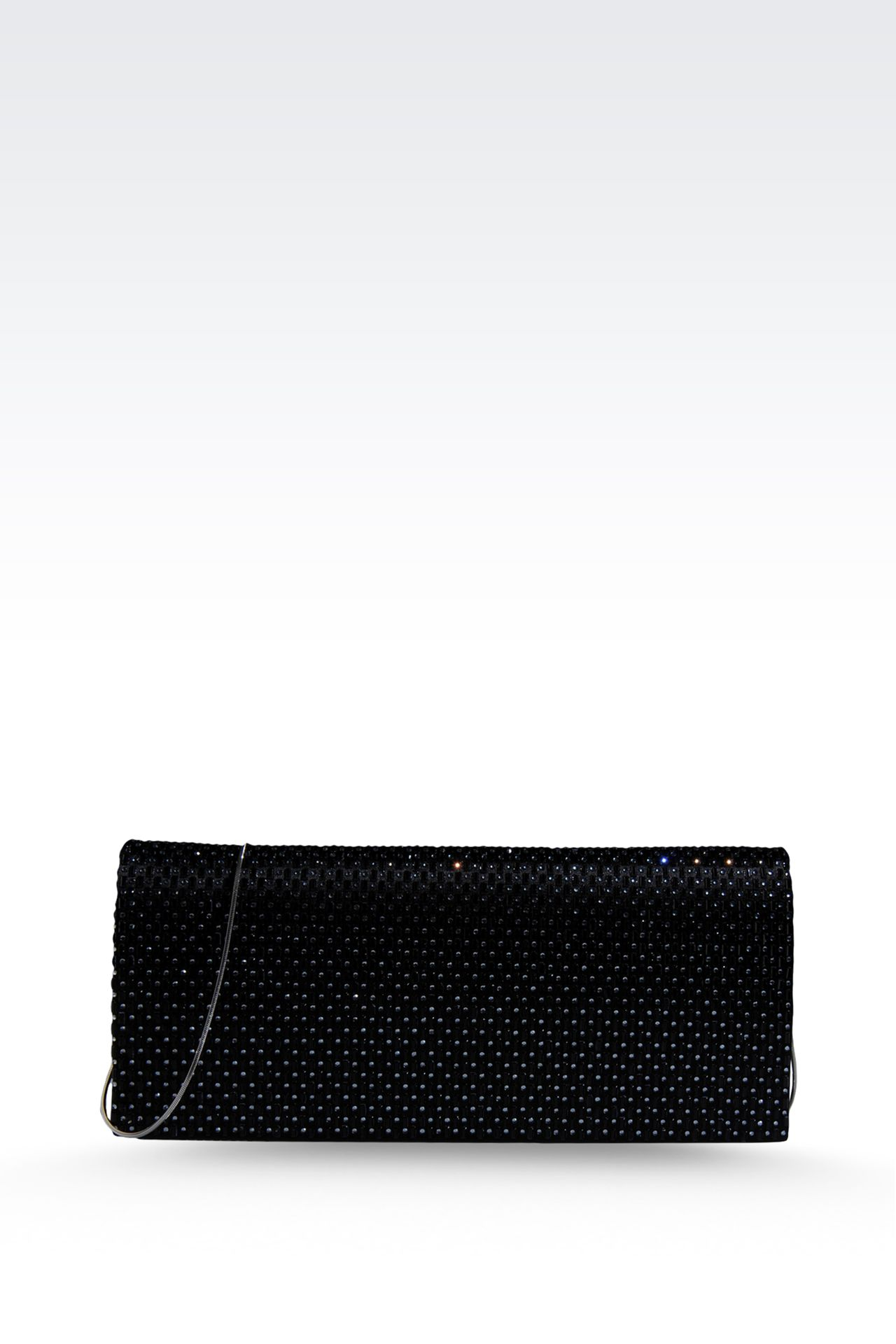 SATIN CLUTCH WITH RHINESTONES AND SHOULDER STRAP: Clutch bags Women by Armani - 0