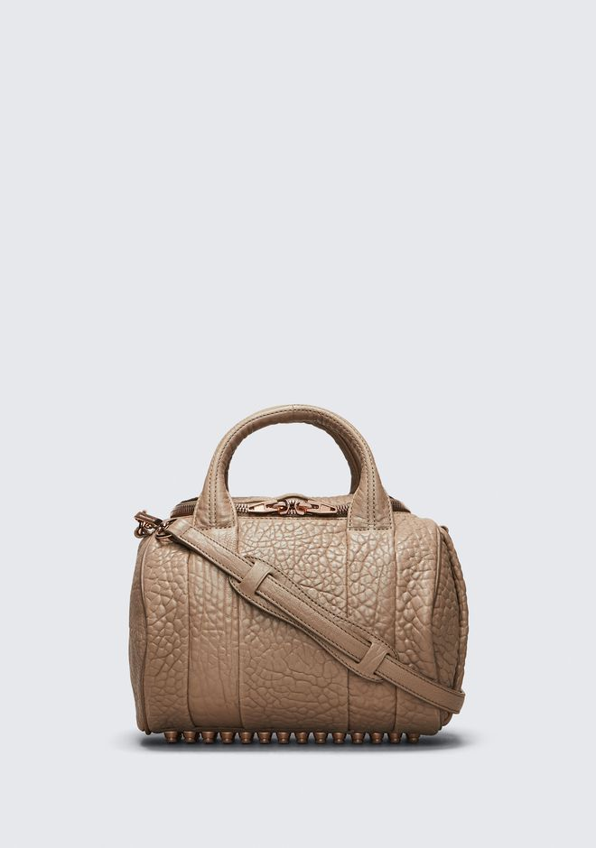 ALEXANDER WANG ROCKIE IN PEBBLED LATTE WITH ROSE GOLD