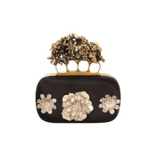 ALEXANDER MCQUEEN, Clutch, Flowers & Honeycomb Embroidered Short Knucklebox Clutch