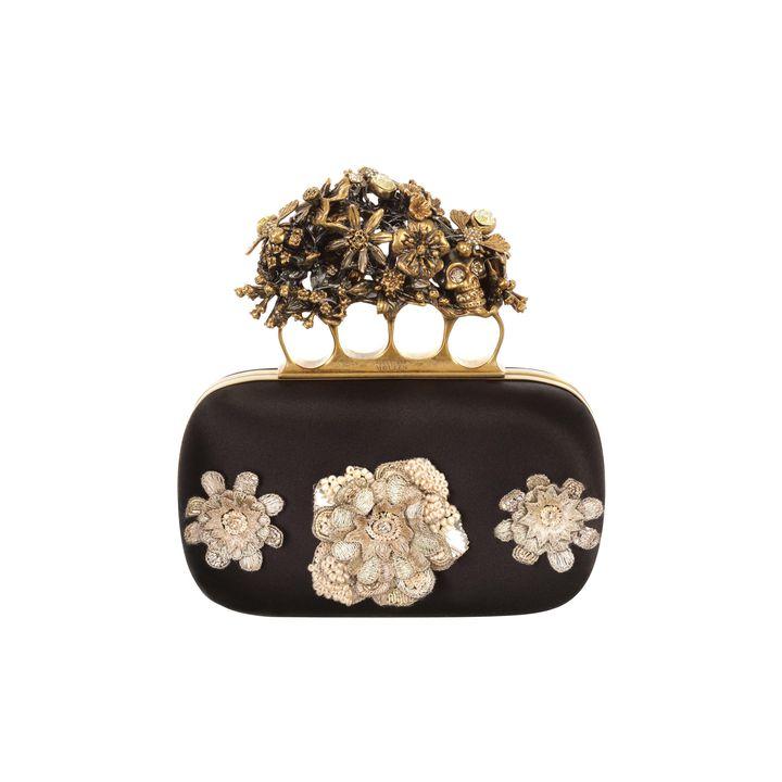 Alexander McQueen, Flowers & Honeycomb Embroidered Short Knucklebox Clutch