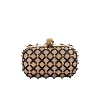 ALEXANDER MCQUEEN, Clutch, Studded Diamond Lattice Skull Box Clutch