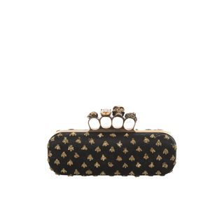 ALEXANDER MCQUEEN, Clutch, Bee Embroidered Honeycomb Satin Knucklebox Clutch