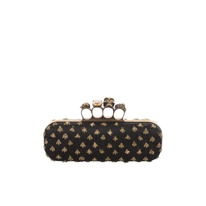 Alexander McQueen, Bee Embroidered Honeycomb Satin Knucklebox Clutch