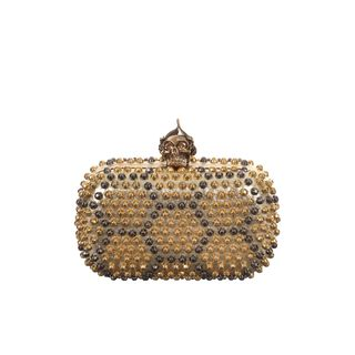ALEXANDER MCQUEEN, Clutch, Honeycomb Studded Punk Skull Box Clutch