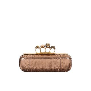 ALEXANDER MCQUEEN, Clutch, Foil Python Knucklebox Clutch