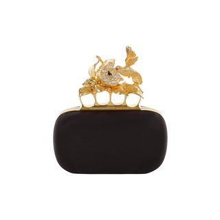 ALEXANDER MCQUEEN, Clutch, Satin Apple & Hummingbird Skull Knucklebox Clutch