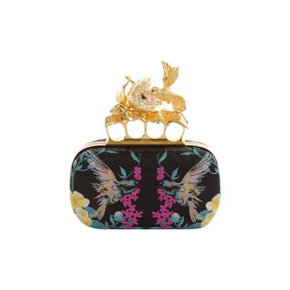 ALEXANDER MCQUEEN, Clutch, Embroidered Apple & Hummingbird Skull Knucklebox Clutch
