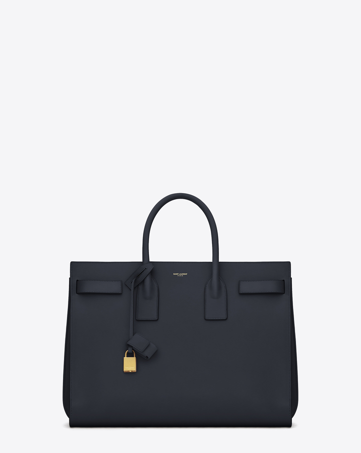 Saint Laurent Classic Sac De Jour Bag In Navy Blue Leather | YSL.com