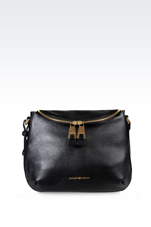 PRINTED LEATHER SHOULDER BAG: Messenger bags Women by Armani - 1