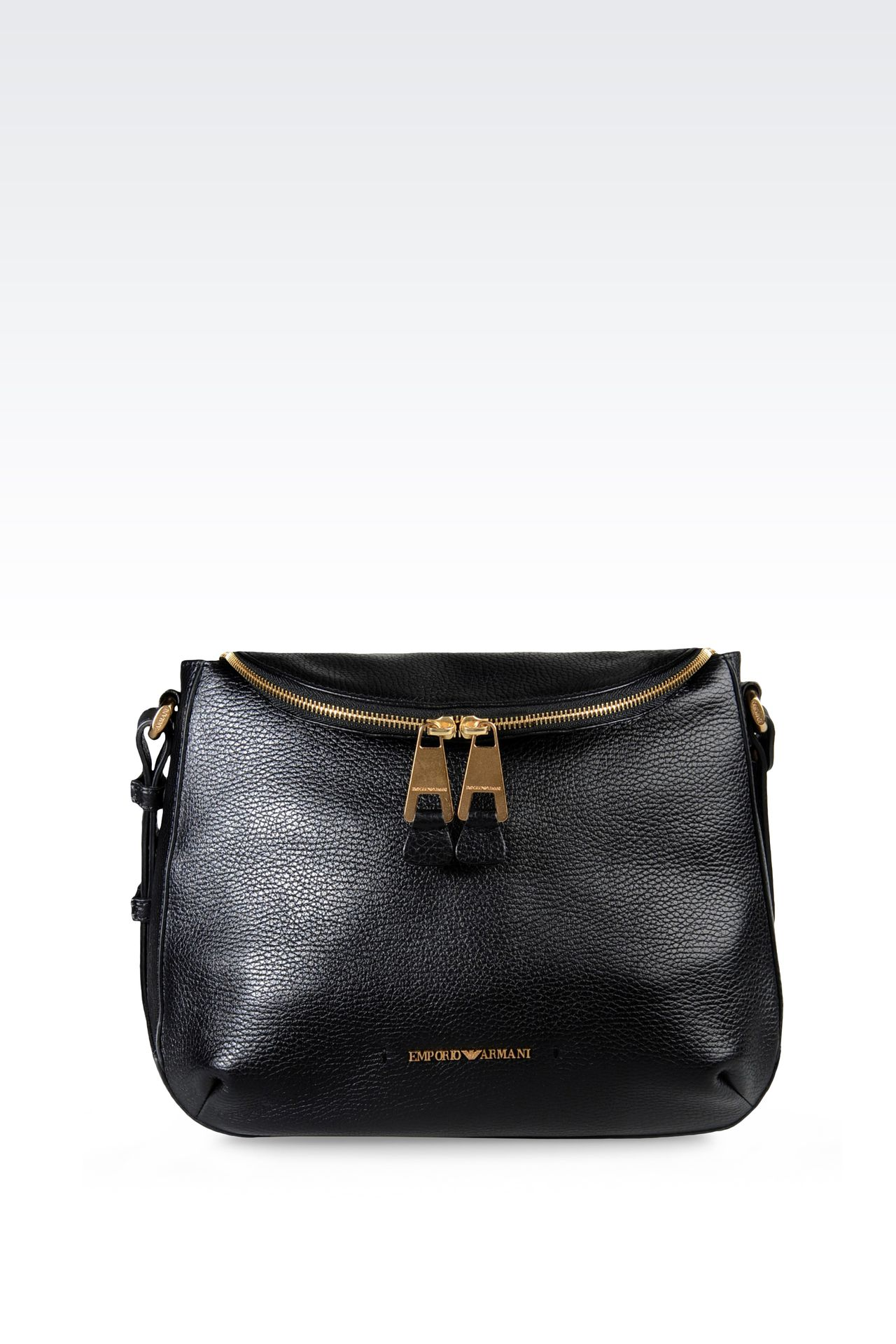 PRINTED LEATHER SHOULDER BAG: Messenger bags Women by Armani - 0