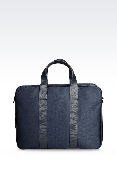 BRIEFCASE IN LOGOED TECHNICAL FABRIC: Satchels Men by Armani - 1
