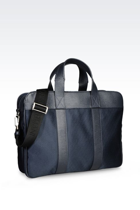 BRIEFCASE IN LOGOED TECHNICAL FABRIC: Satchels Men by Armani - 2
