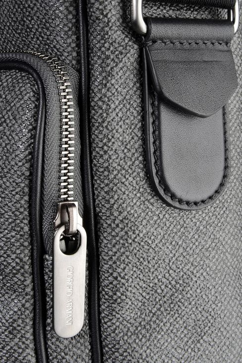 SHOULDER BAG IN PVC WITH LEATHER DETAILING: Messenger bags Men by Armani - 4