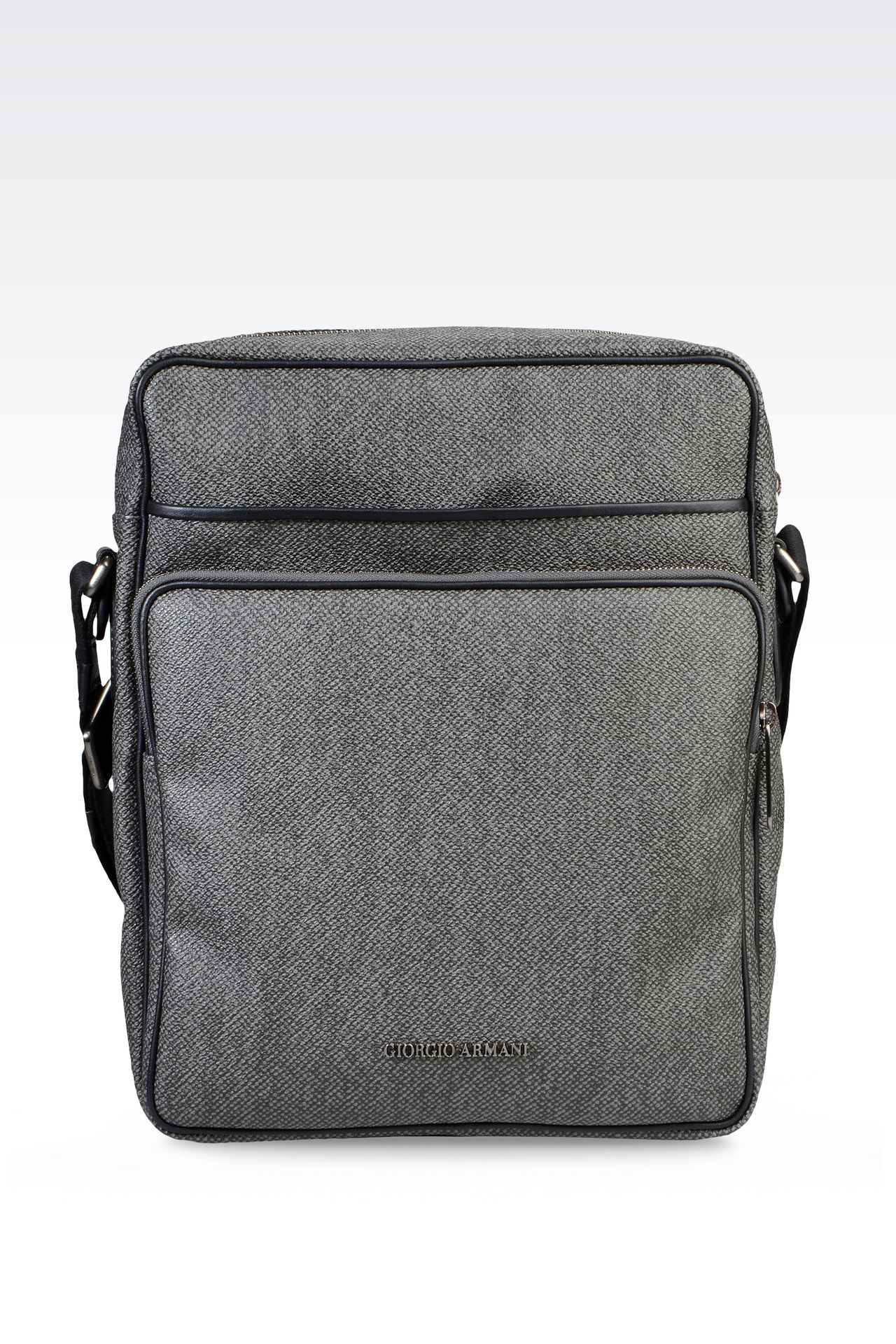 SHOULDER BAG IN PVC WITH LEATHER DETAILING: Messenger bags Men by Armani - 0