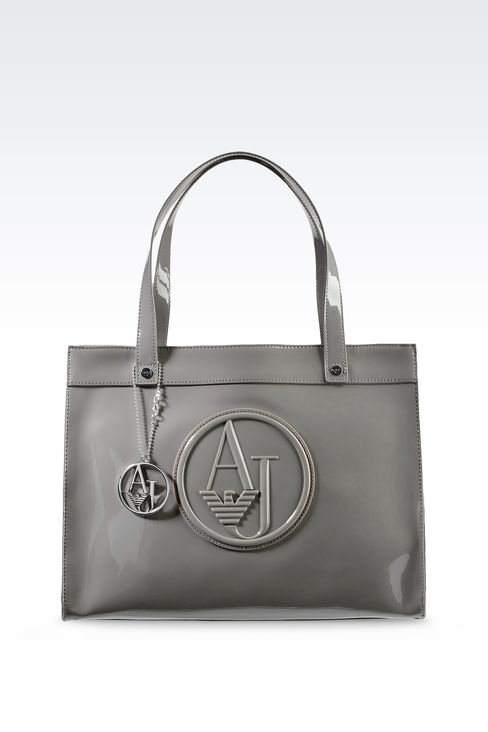 SHOPPING BAG IN PATENT FAUX LEATHER WITH PENDANT: Top handles Women by Armani - 1