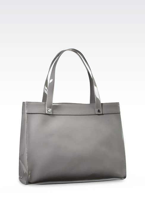 SHOPPING BAG IN PATENT FAUX LEATHER WITH PENDANT: Top handles Women by Armani - 2