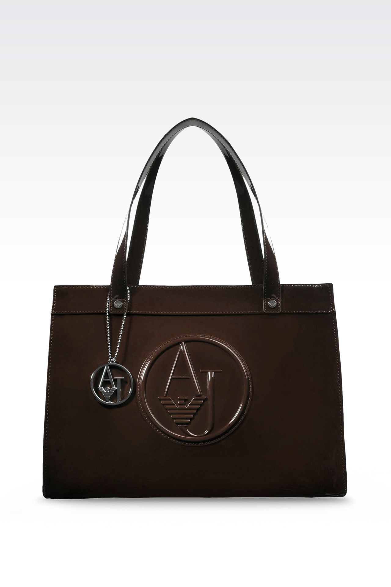 SHOPPING BAG IN PATENT FAUX LEATHER WITH PENDANT: Top handles Women by Armani - 0