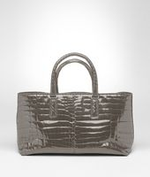 Borsa Fenice Shadow in Shiny Crocodile Fumé
