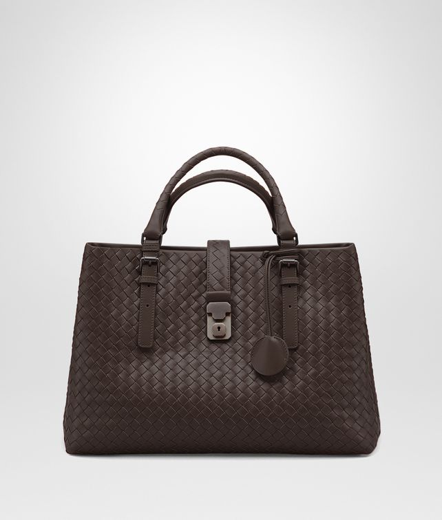 BOTTEGA VENETA BORSA ROMA MEDIA IN VITELLO INTRECCIATO MORO Borsa a Mano D fp