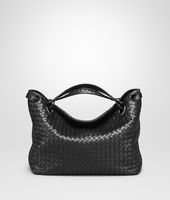 MEDIUM SHOULDER BAG IN NERO INTRECCIATO NAPPA