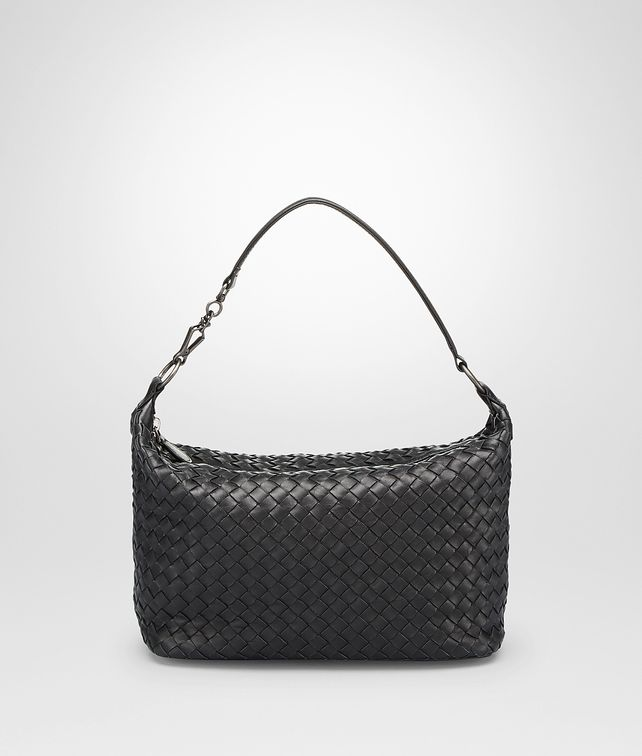 SMALL SHOULDER BAG IN NERO INTRECCIATO NAPPA