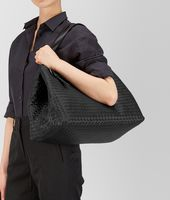 LARGE TOTE BAG IN NERO INTRECCIATO NAPPA