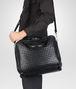 BOTTEGA VENETA Informale Bag Nera in Vitello Intrecciato Borsa Shopping U lp
