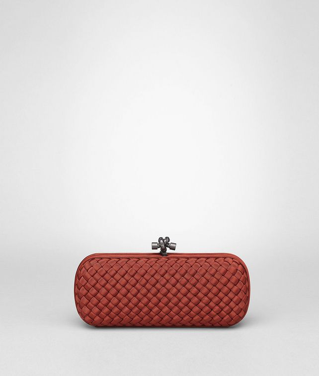 STRETCH KNOT CLUTCH IN BRIQUE INTRECCIO FAILLE MOIRE