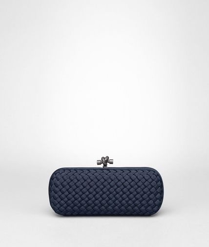 STRETCH KNOT CLUTCH IN PRUSSE INTRECCIO FAILLE MOIRE