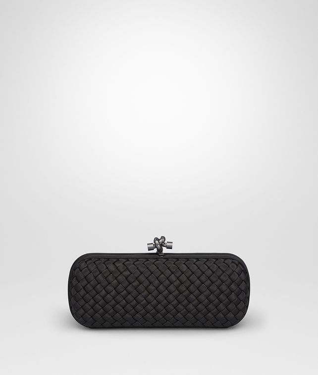 BOTTEGA VENETA STRETCH KNOT CLUTCH IN NERO INTRECCIO FAILLE MOIRE Clutch D fp