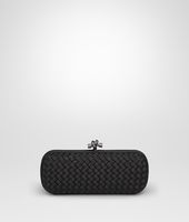 STRETCH KNOT CLUTCH IN NERO INTRECCIO FAILLE MOIRE