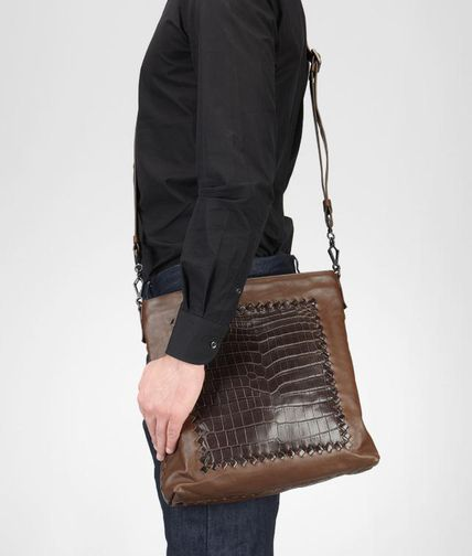 BOTTEGA VENETA - Light Calf Soft Crocodile Fume Cross Body Bag