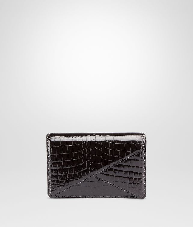 BOTTEGA VENETA Nero Shiny Crocodile Clutch Clutch D fp