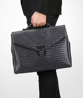 SMALL BRIEFCASE IN ARDOISE INTRECCIATO VN