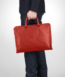 BOTTEGA VENETA - Briefcases, Brique Intrecciato Light Calf Briefcase