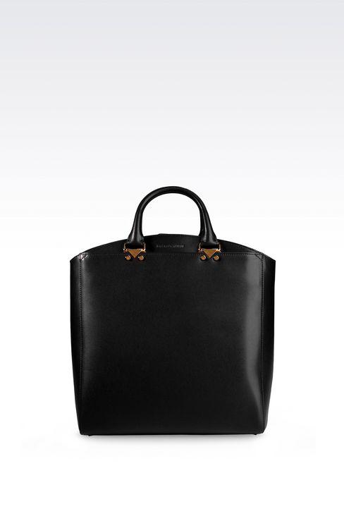 TOTE BAG IN BOARDED CALFSKIN: Shoppers Women by Armani - 1