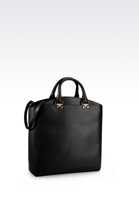 TOTE BAG IN BOARDED CALFSKIN: Shoppers Women by Armani - 2