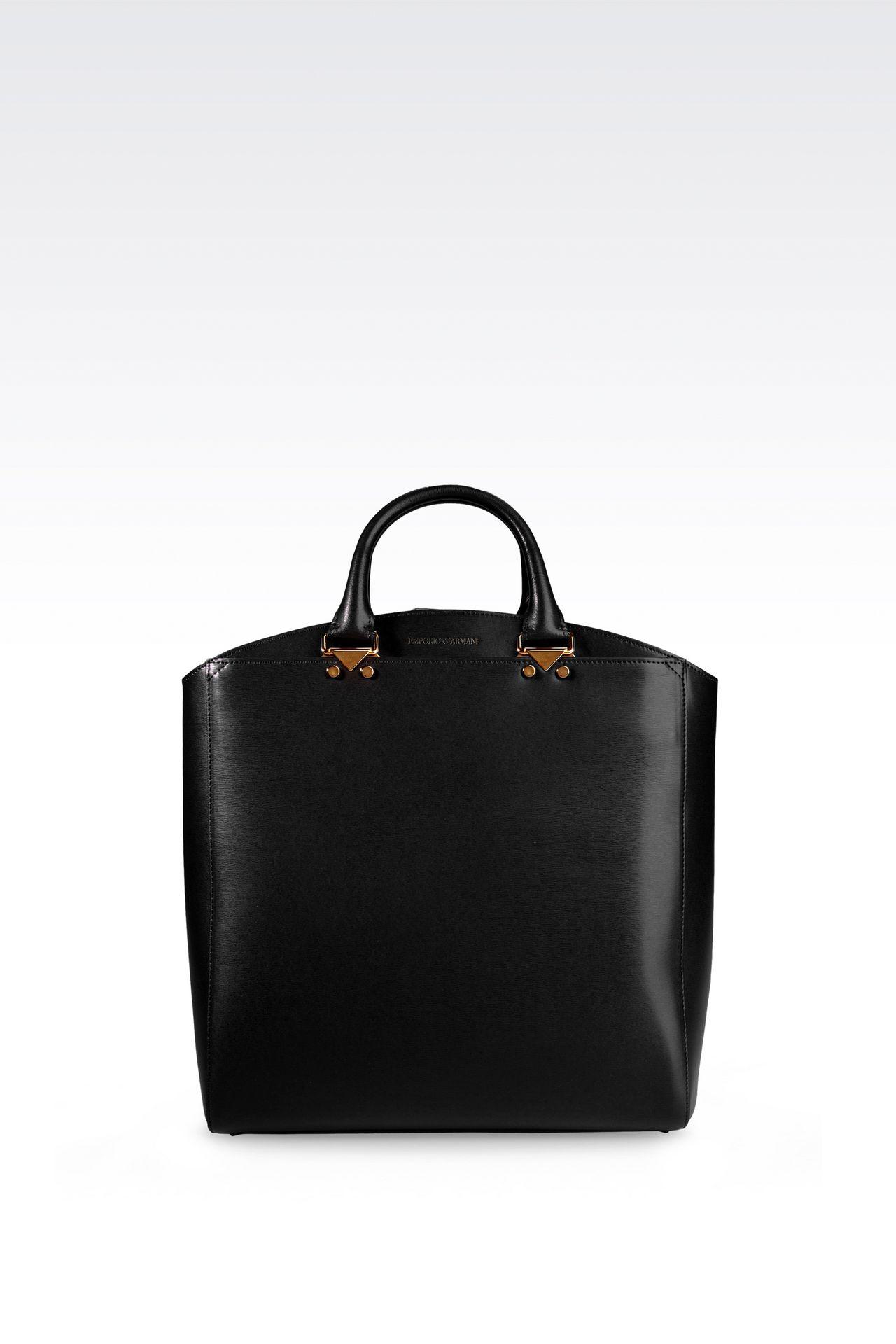 TOTE BAG IN BOARDED CALFSKIN: Shoppers Women by Armani - 0