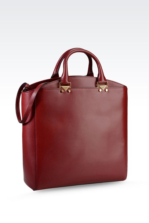TOTE BAG IN BOARDED CALFSKIN: Shoppers Women by Armani - 2