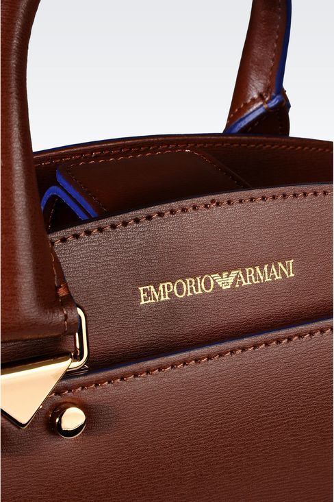 TOTE BAG IN BOARDED CALFSKIN: Shoppers Women by Armani - 4