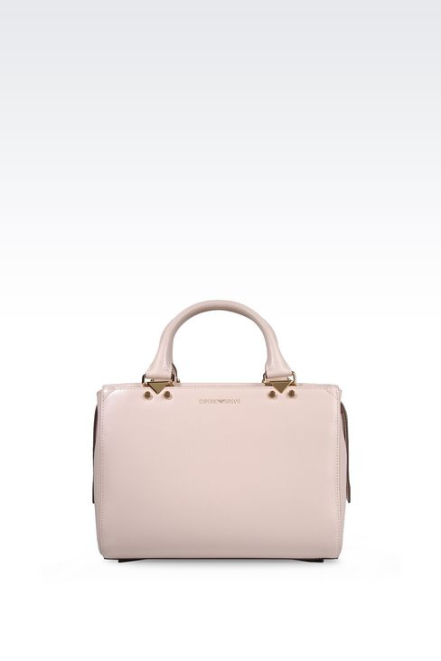 SMALL HANDBAG IN BOARDED CALFSKIN WITH DETACHABLE SHOULDER STRAP: Top handles Women by Armani - 1