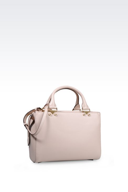 SMALL HANDBAG IN BOARDED CALFSKIN WITH DETACHABLE SHOULDER STRAP: Top handles Women by Armani - 2