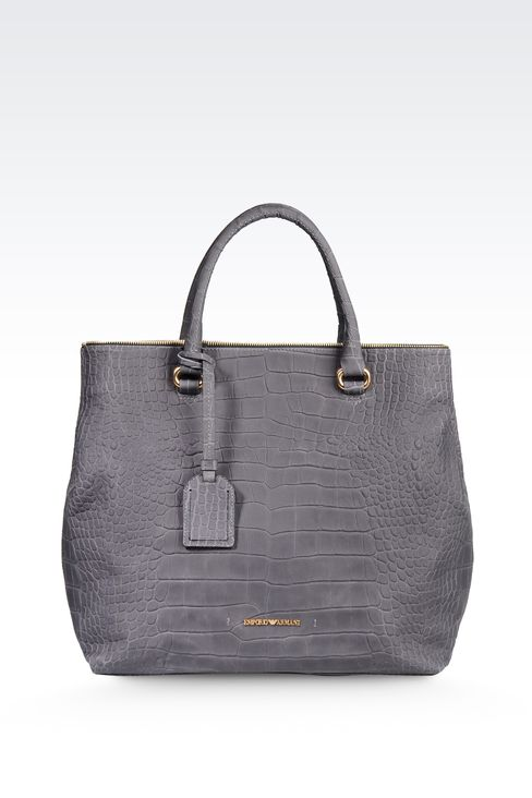 LEATHER TOTE BAG WITH CROC PRINT: Shoppers Women by Armani - 1